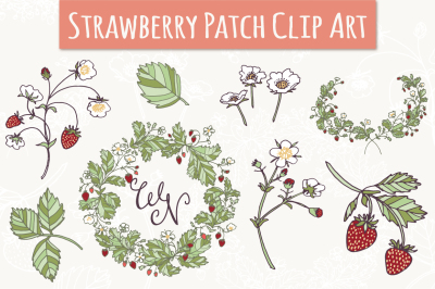 Strawberry Patch Clip Art & Vectors