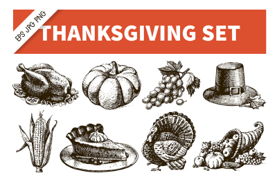 Thanksgiving Hand Drawn Sketch Vector Set