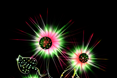 The image of a bright glowing fantastic flower on a black background jpeg 300dpi