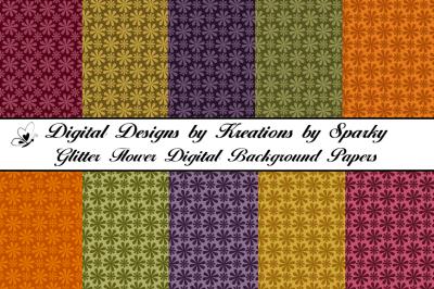 Glitter Flower Digital Background Papers
