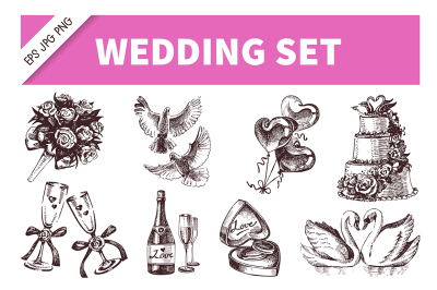 Wedding Hand Drawn Sketch Vector Set
