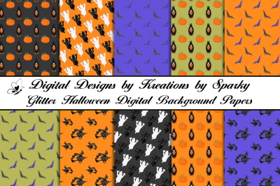 Glitter Halloween Pattern Digital Background Papers