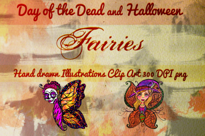 Hand Drawn Clip Art Day of the Dead and Halloween Fairies