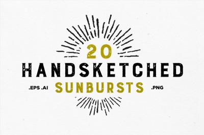 20 Handsketched Sunbursts