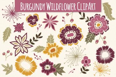 Wildflower Clip Art in Burgundy