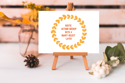 Rustic autumn layered mockup