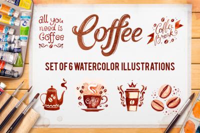 Coffee. Watercolor illustrations.