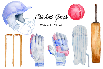 Watercolor Cricket Gear