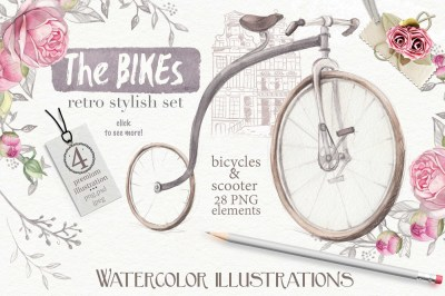 Watercolor BIKES set