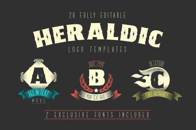 26 Heraldic Logo Templates + 2 Fonts