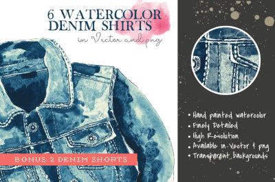 6 Watercolor Denim Shirts