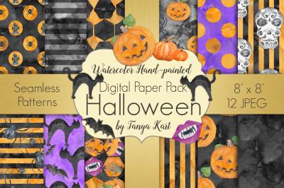 Halloween Watercolor Digital Paper Pack