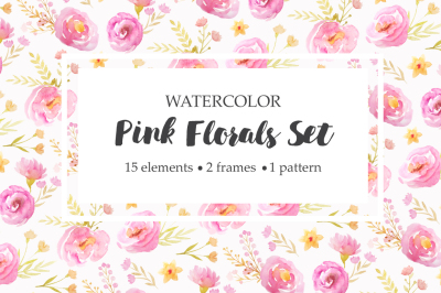 Watercolor Pink Floral Set