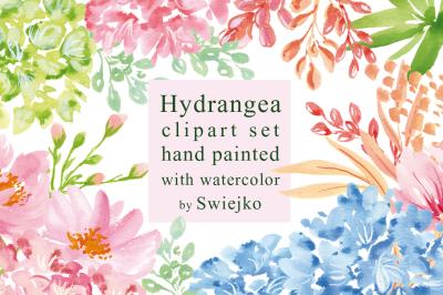 Hydrangea Clipart Set, Digital Watercolor Flowers