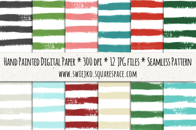 Stripes Digital Paper, Christmas background, Watercolor brush texture