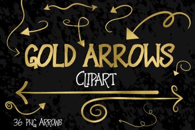 Gold Foil Arrows Clip Art
