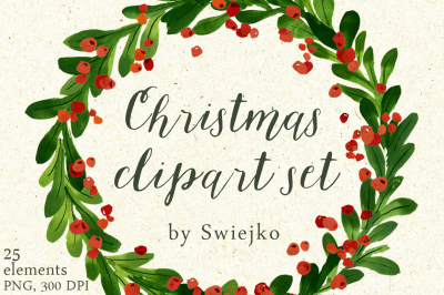 Christmas Watercolor Clipart, holiday wreath, mistletoe