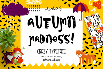 Autumn Madness Typeface & Elements