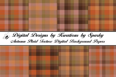 Autumn Plaid Texture Digital Background Papers