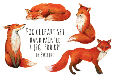 Fox Clipart, Watercolor Illustration, Forest Images