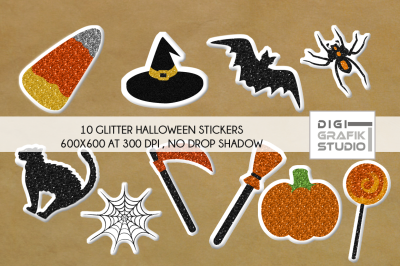 Glitter Puffy Halloween Digital Stickers