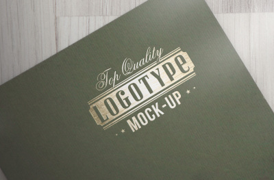 Exclusive logotype mock-up - Gold craft on riffled paper