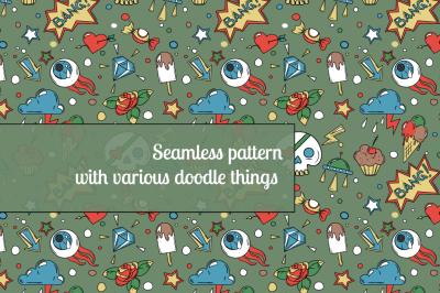 various doodle things pattern