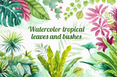 Watercolor tropical leaves set#2