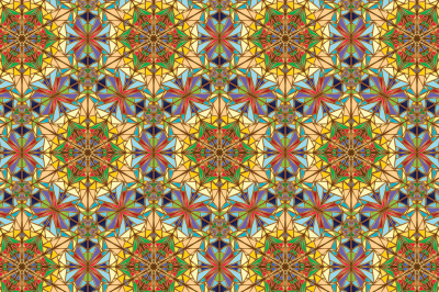 Illustration, imitation of mosaic, in Oriental style, with a gold outline, two files, a JPEG 300 dpi and EPS 10
