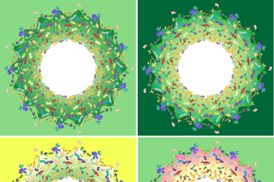 A set of four circular frames for text, a flock of colorful butterflies with imitation gold stroke, four 300 dpi JPEG and EPS 10