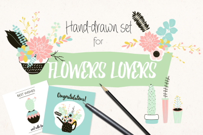 Flowers Lovers. Vector Clipart Set