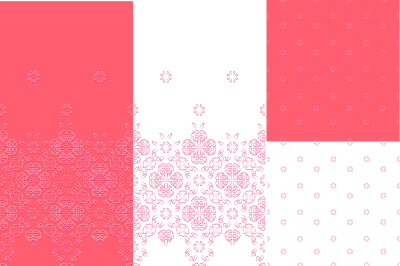 Set of two seamless borders and two seamless backgrounds 4 JPEG file 300 dpi and EPS 10, can be used to design cards, invitations, print, create Wallpapers, fabrics