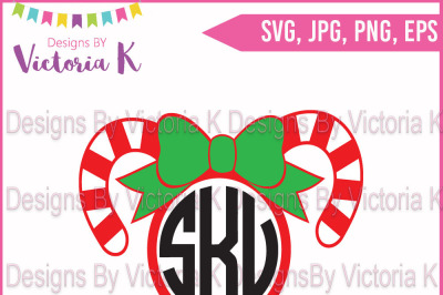 Candy Cane with Bow, Monogram, SVG Cut File
