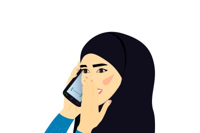 A young woman in a headscarf talking on the phone and smiling, illustration, two files, a JPEG 300 dpi for print and EPS 10