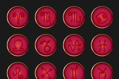 Zodiac signs icons set vector icons, imitation, convex glass and gold edging 300 dpi in JPEG and EPS 10 can be used in all sizes for print and web sites