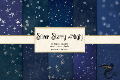Silver Starry Night Digital Paper