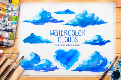 Watercolor clouds