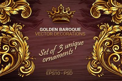 Golden baroque vector decorations