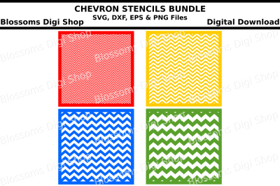 Chevron stencils bundle SVG, DXF, EPS and PNG files