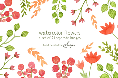 Digital Clip Art, Watercolor Flowers, Floral Meadow