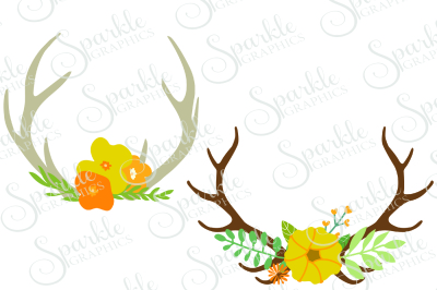 Fall Floral Antlers Cut File