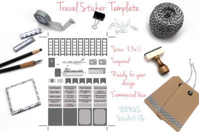 Travel Planner Stickers Template
