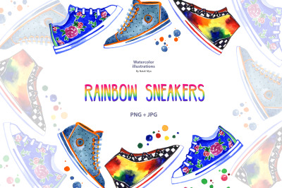 Watercolor rainbow sneakers