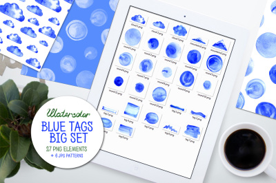 Watercolor blue tags big set
