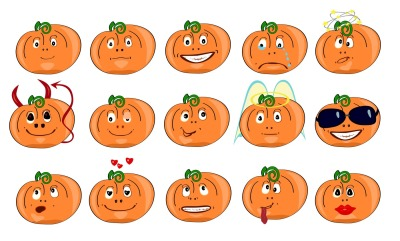 Pumpkins with different emotions, icons, isolated on white background, the two files are in JPEG format with a resolution of 300 dpi and EPS 10. Suitable for printing and illustrations of any size, for use in the chat.