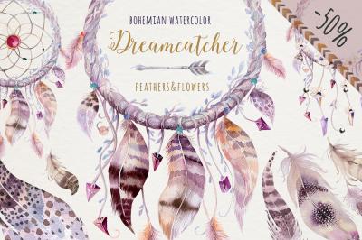 Watercolor dreamcathers II. Bohemian style