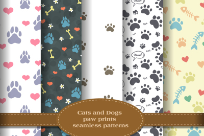 Cats and dogs paw prints