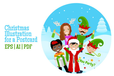 Christmas Illustration for Postcard