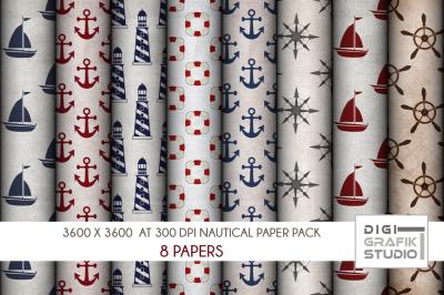 Rustic Nautical Digital Papers Pack, Seamless Pattern Paper Pack, Seamless Pattern
