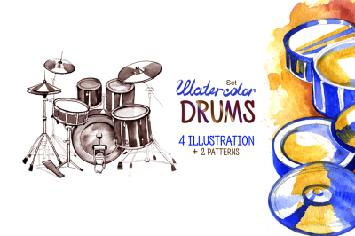Watercolor drums.